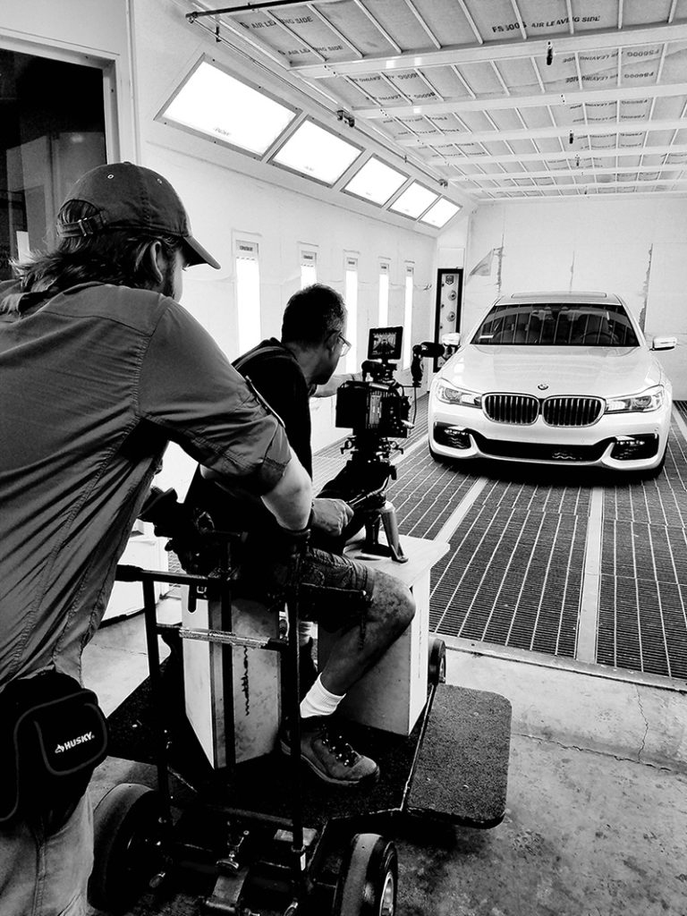 behind the scenes shooting a car commercial product video