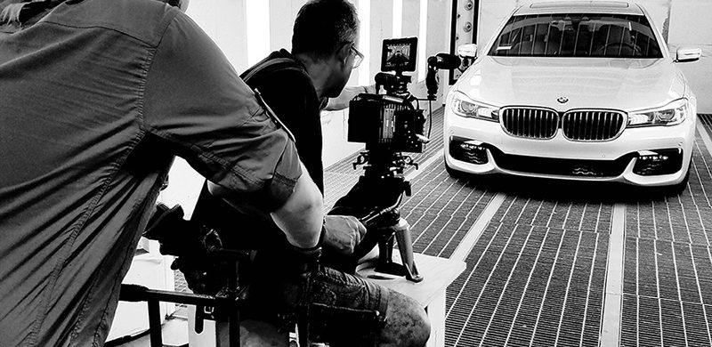 behind the scenes filming an auto product video
